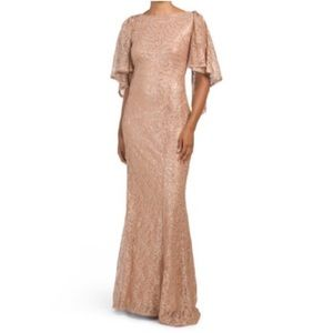 MARINA rose gold sequin and lace caplet gown